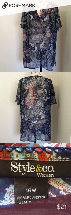 "sz. 16W Style & Co sheer blue paisley tunic top Style & Co short sleeve sheer blue paisley tunic top. Machine washable.   Plus size 16W - 23"" pit to pit, 30"" length.  See photos for details. Smoke free, pet friendly home.   Please message me with any questions. Ask if additional size detail is needed.   15% discount for 3+ item bundles. Check out my closet. Happy Poshing!  687/CS Style & Co Tops Tunics"