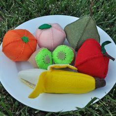 Fruit Felt Food 8 Piece Rainbow Set by TheFeltedPear on Etsy, $36.00