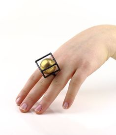 """Gigi Mariani - Ring """" Encounter"""" - Unique piece - Silver, 18kt Yellow Gold, Niello, Patina - Size available: IT 15.5 - JP 15 Dimensions: diameter 17.6 mm / height 2.3 cm / width 2.5 cm / depth 2.5 cm - 2 795€"""