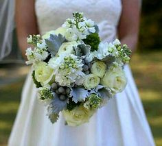 Bride's Bouquet: Ivory Roses, White Ranunculus, White Stock, Green Trick Dianthus, Dusty Miller