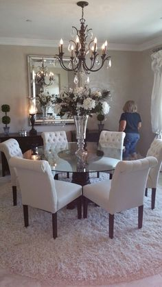Elegant Dining Room Set – Home Interior Design Ideas Dining Room Design, Dining Room Table, Dining Rooms, Dinning Room Chandelier, Dinning Room Table Decor, Glass Round Dining Table, Elegant Dining Room, Round Tables, Elegant Home Decor