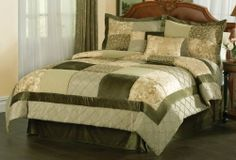 """Green Garden Comforter Set with 4 Bonus Pieces , Queen by PemAmerica. $139.99. 4 BONUS PILLOWS: 2 16x16 inch and 2 12x16 inch.. Made in China.. 1 Queen comforter 86""""x86"""" with two standard shams (20x26 inches), bed skirt to fit mattress 60""""x80"""". Dry Clean Only.. Filled with 100% Hypoallergenic Polyester. Green Garden comforter sets are a blend of traditional deep green floral jacquards and rich velour with modern satin highlights. The main body of the comforter fea..."""