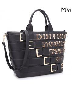 17c1fbb0eb0b Extra Large Leather Tote Bag Designer Shoulder Handbag Buckle Details  Removable Strap - 7216 Black Leopard - CZ188L9RDKN  Bags  Handbags   Totebags  gifts   ...