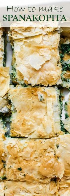Spanakopita Recipe (Greek Spinach Pie) The Mediterranean Dish. The best tutorial for how to make spanakopita. Greek spinach pie with crispy, golden phyllo and a soft filling of spinach, feta cheese, and herbs. A holiday recipe for make it for dinner! Greek Spinach Pie, Spinach And Feta, Greek Cheese Pie, Spinach Cake, Greek Pizza Recipe Feta, Easy Spinach Pie Recipe, Cooked Spinach Recipes, Spinach Meals, Spinach Dinner Recipes