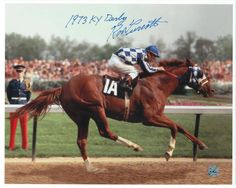 "Ron Turcotte Autographed 8x10 Photo Inscribed ""1973 KY Derby"" -Racing-"