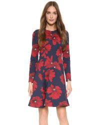 Lela Rose | Tailored Flare Dress - Navy/poppy |  Lyst