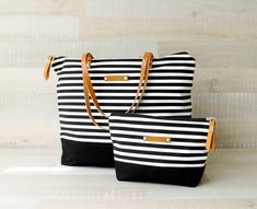 Zippered Striped Tote Bag EXPRESS SHIPPING Tote by bayanhippo