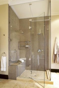 Check out this all mosaic tile shower! Love the stacked brick pattern. Master Bath Shower, Shower Tub, Master Bathroom, Modern Shower, Modern Bathroom, Steam Room Shower, Relaxation Room, Steam Showers, Bathroom Spa