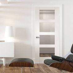 Bespoke Shaker 4L White Primed Glazed Door.  #internalwhitedoor #bespokedoor #whitebespokedoor