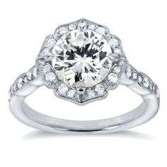 Annello 14k White Gold Round-cut Moissanite and 1/4ct TDW Diamond Floral Engagement Ring (G-H, I1-I2) | Overstock.com Shopping - The Best Deals on Moissanite Rings