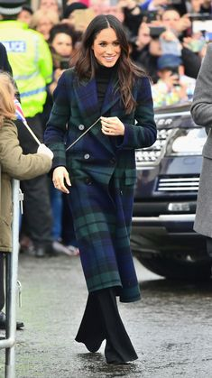 EDINBURGH, SCOTLAND - FEBRUARY 13:  Prince Harry and Meghan Markle visit Edinburgh Castle during their first official joint visit to Scotland on February 13, 2018 in Edinburgh, Scotland.  (Photo by Samir Hussein/Samir Hussein/ WireImage) via @AOL_Lifestyle Read more: https://www.aol.com/article/lifestyle/2018/02/13/meghan-markles-scotland-outfit-proves-how-shes-reinventing-the-royal-dress-code/23360485/?a_dgi=aolshare_pinterest#fullscreen
