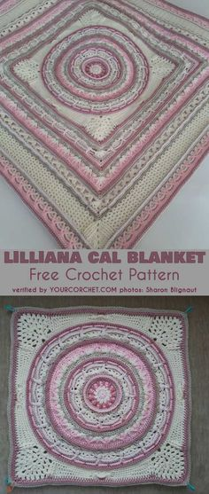 Lilliana Cal Blanket Afghan Throw Free Pattern This amazing pattern will be a wonderful blanket or a pillow. The middle part form the pattern will be great as a placemat or a doily as well.