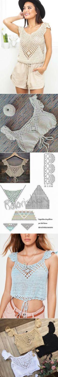 vk.com Moda Crochet, Diy Crochet, Crochet Bikini, Crochet Top, Top Crop Tejido En Crochet, Crochet Bathing Suits, Boho Style Dresses, Crochet Woman, Crochet Fashion