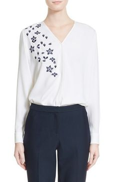 Nordstrom Signature and Caroline Issa Embroidered Silk Satin Georgette Blouse