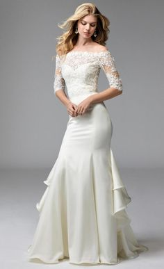 Sheath Style Wedding Dress With Off Shoulders