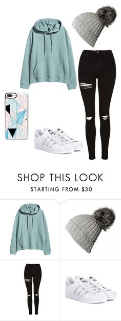 """Talk To You"" by keefesencen ❤ liked on Polyvore featuring H&M, Black, Topshop, adidas Originals and Casetify"