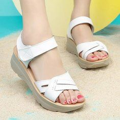 Women Casual Soft Sole Beach Sandals Buckle Pure Color Wedge Sandals