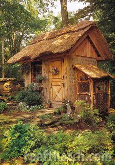 thatched roof garden retreat