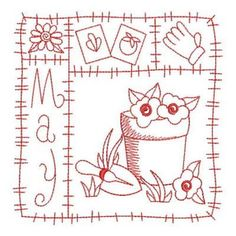 Redwork 12 Months of the Year Set, 12 Designs - 3 Sizes! | Products | SWAK Embroidery