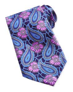 Ermenegildo Zegna Large Paisleys and Floral Tie, Navy - Neiman Marcus