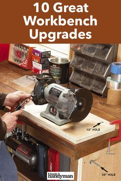 10 Great Workbench Upgrades Building A Workbench, Workbench Top, Workbench Plans, Rosin Paper, Miter Saw Table, Hanger Bolts, Peripheral Neuropathy, Wood Brackets, Shop Layout