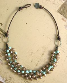Bohemian statement necklace leather baroque pearls by 3DivasStudio