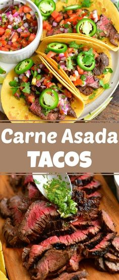 Delicious Carne Asada Tacos filled with steak marinated in an easy, flavorful marinade and topped with homemade pico de gallo and cilantro vinaigrette.#steak #tacos #carneasada #beef #hangersteak #flanksteak #skirtsteak #dinner Side Dish Recipes, Meat Recipes, Easy Dinner Recipes, Mexican Food Recipes, Cooking Recipes, Dinner Ideas, Mexican Dishes, Cooking Ideas, Steak Tacos
