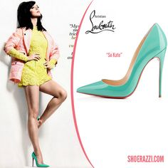 955a6038df33 Katy Perry in Christian Louboutin Spring 2014 So Kate Aquamarine Patent  Leather Pumps - ShoeRazzi Perry
