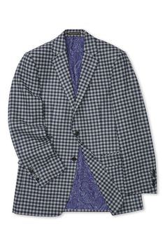 This handsome checked jacket is cut in pure new wool, fabric woven in Yorkshire with a distinctive navy and grey checked pattern. Blazers, Savile Row, Weekend Is Over, Paisley Print, Single Breasted, Woven Fabric, Suit Jacket, Handsome, Sport Coats