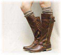 Boot sock, tall boot socks, knee socks, lace sock, lace boot socks, leg warmers, ALPINE ADORE brown tweed | BKS0