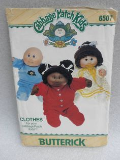 Butterick Sewing Pattern 6507 Cabbage Patch Doll Clothes PJs Uncut with transfer 1984