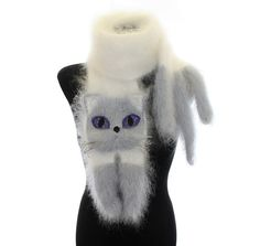 Knitted Scarf / Fuzzy white and gray blue Soft Scarf / cat