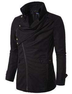 Amazon.com: Doublju Mens Jacket with Asymmetry Zipper: Clothing