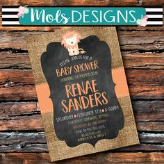 Any Color LION BABY SHOWER Sprinkle Sip n see Watercolor Vintage Chalkboard Orange Safari Couples Shower 1st 2 3 Birthday Party Invitation