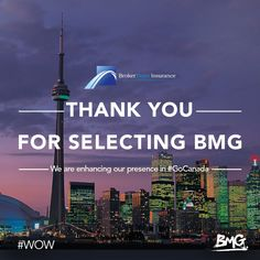 #WOW We are enhancing our presence in #GoCanada! Thank you Broker Team Insurance for selecting BMG as partners.