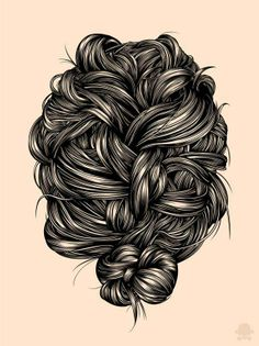Intricate Hair Illustrations - The Gerrel Saunders Portraits Recreate the Beauty of Hair (GALLERY)