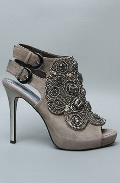 Gray buckle peep toe heels