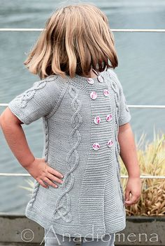 Sea Princess pattern by Elena Nodel #knitting #yarn #cardigan #cables #craft #kidsknitting