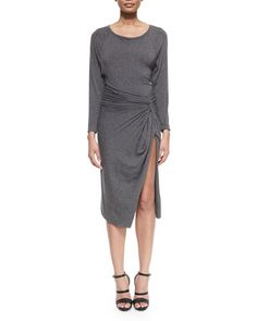 B2Y63 Donna Karan Bateau-Neck Split-Skirt Dress