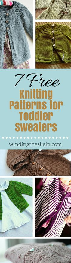 Looking for a cute sweater pattern for your toddler or even older? Check out these free knitting patterns for toddler sweaters. www.windingtheskein.com #knitting #sweater #toddler #patterns