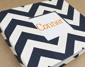 PRE-ORDER - Baby  Book - Navy and White Chevron  (78 designed journaling pages & personalization included with every album)
