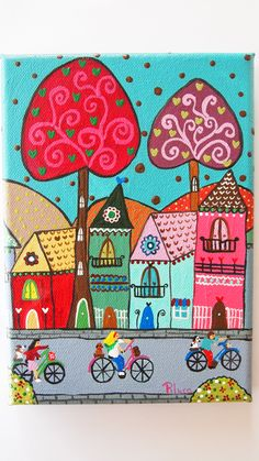 Paseo en bicicleta Folk Art Flowers, Flower Art, Stella Art, Hamsa Art, Trippy Drawings, School Murals, Art Drawings For Kids, Color Pencil Art, Naive Art