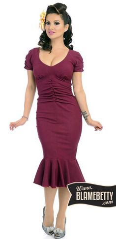 Embrace the glamour and sophistication of the 1940's in the flirty Brooke Dress! #blamebetty #pinupdress #gorgeous