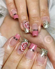 Diy Acrylic Nails, Cute Acrylic Nail Designs, Diy Nail Designs, Colorful Nail Designs, Glitter Nail Art, Blush Nails, Rose Gold Nails, Pink Nails, Chic Nails