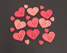 50 x Red edible icing Heart Buttons & mini heart cupcake toppers cake decorations by ACupfulofCake on Etsy £15.75