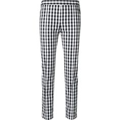 Boutique Moschino gingham skinny trousers ($374) ❤ liked on Polyvore featuring pants, white, slim fit pants, slim fitted pants, white cigarette pants, high-waisted trousers and white slim fit pants