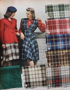 1940s Fabrics and Colors in Fashion: 1944 Wool plaids made in jersey or twill texture.   #1940sfashion #vintage http://www.vintagedancer.com/1940s/1940s-fabrics-colors-fashion/
