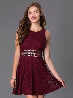 confirmation dresses A-Linie/Princess-Stil U-Ausschnitt rmellos Kurz/Mini Spitze Kleider Mini Vestidos, Short Dresses, Prom Dresses, Formal Dresses, Burgundy Homecoming Dresses, Sleeveless Dresses, Elegant Dresses, Pretty Dresses, Dress Remove