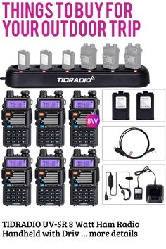 (This is an affiliate pin) TIDRADIO UV-5R 8 Watt Ham Radio Handheld with Driver Free Programming Cable and Six Way Multi Unit Charger and 12 1800mAh Batteries (6 Pack)