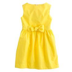 J.Crew - Girls' poplin bow dress- Geranium dress pattern in yellow eyelet with a grey bow for Megan's wedding?